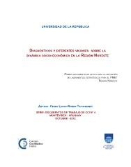 Diagnósticos y diferentes visiones sobre la dinámica socio-económica en la Región Noreste